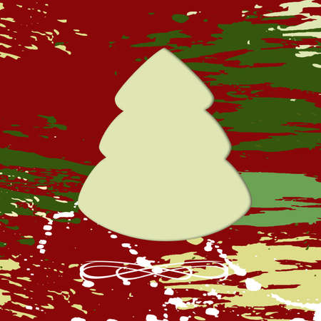 Christmas tree on square red, green and yellow grungy background photo