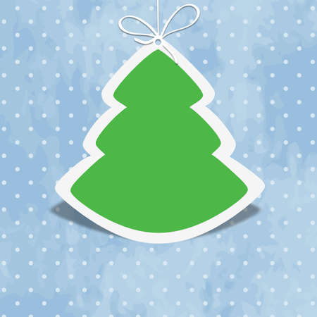 Cute Christmas tree on blue retro background with polka dots