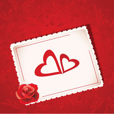Square Valentine&s Day background for wedding or greeting card photo