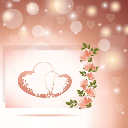 Square Valentine's Day background for wedding or greeting card photo