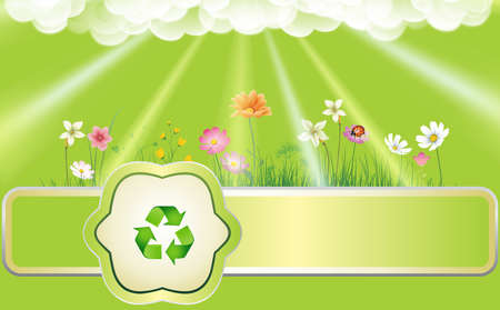 Ecology background with flowers, sun beams and recycling symbol  Stock Photo
