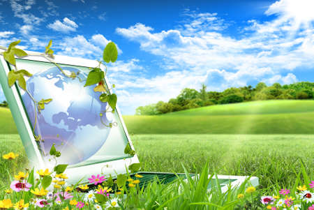Notebook-Computer sitzt auf grünem Gras an einem sonnigen Tag Standard-Bild