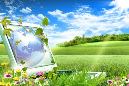 sostenibilidad: Ordenador portátil sentado en la hierba verde en un día soleado