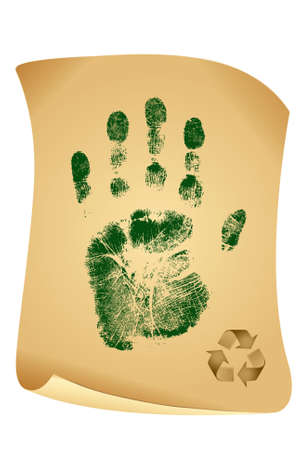 environmental issue: Green handprint on vintage paper isolated on white background  Stock Photo
