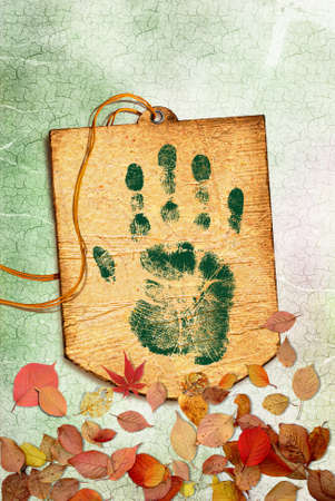 Ecology concept with Green handprint on grunge background  photo