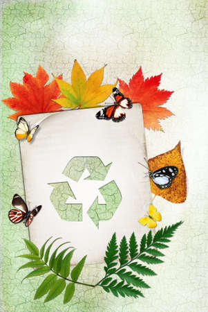 Ecology concept with recycling symbol on grunge background  photo