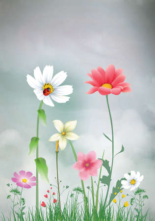 Spring Easter vintage background with beautiful delicate flowers