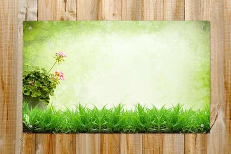 Horizontal wooden background with summer landscape painting photo
