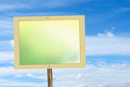 bulletinboard: Ecology or advertisement concept with blank board over blue sky