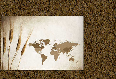 Dirt Texture Background with map of the world for Agriculture or World Hunger Concept photo