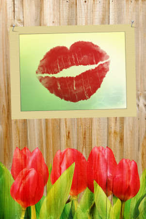 Vertical Valentine's Day background for wedding or greeting card photo