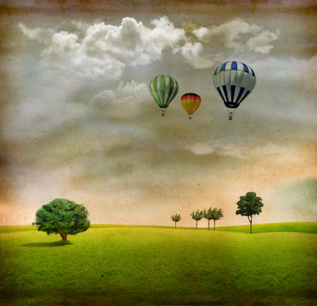 linen texture: Vintage landscape with trees, clouds and air balloons