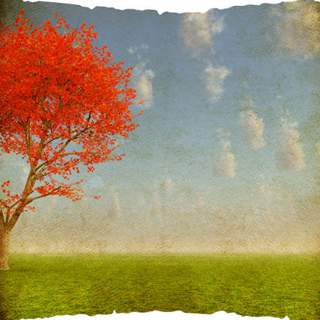 Lonely red tree on grunge background, autumn landscape Stock Photo