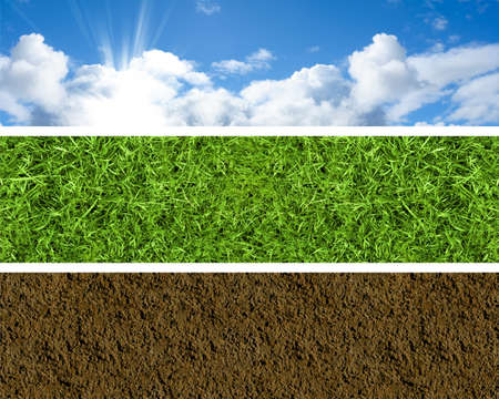 soil conservation: Set of three banners with bright sky, fresh grass and brown soil Stock Photo