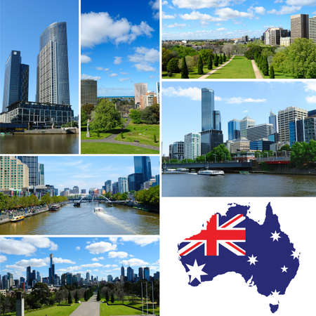 Beautiful view of Melbourne city and flag map of Australia photo