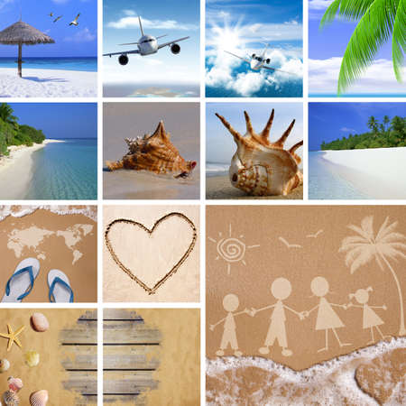 Family tropical travel concept with summer beach images photo