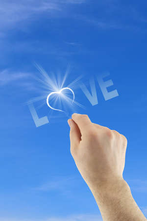 Hand holding heart shaped cloud, Valentines Day background Stock Photo - 17746466