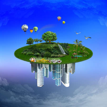 sky line: Landscape with different elements on its surface, nature and city Stock Photo