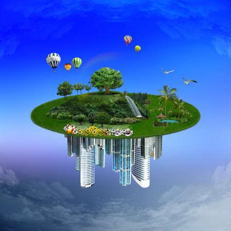 Paisagem com elementos diferentes em sua superfície, a natureza ea cidade