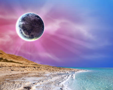 Abstract sunset landscape with big moon on sea cost