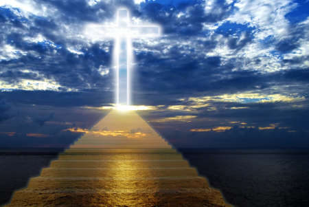 stairway to heaven: Conceptual image of the religious symbolic cross