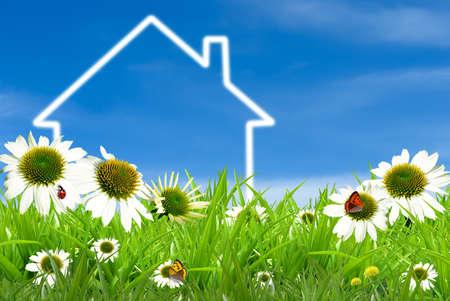 建設、エコ、エコロジー、ローン、住宅ローン、プロパティまたは家のための家のシンボル 写真素材