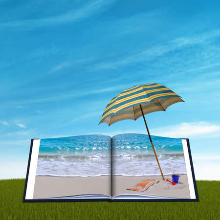 reads: Open book with a tropical beach and umbrella