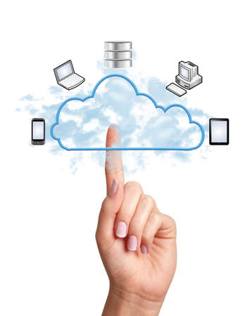 cloud transfer: Woman hand pressing cloud computing icon on white background