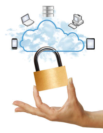 data transmission: Hand holding padlock, cloud computing security concept on white background Stock Photo