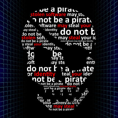 Concept of internet piracy, stolen software may steal your identity photo