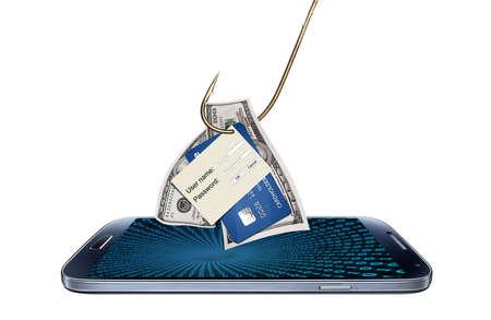 Hacking of phishing login, wachtwoord of creditcardnummer detail Stockfoto