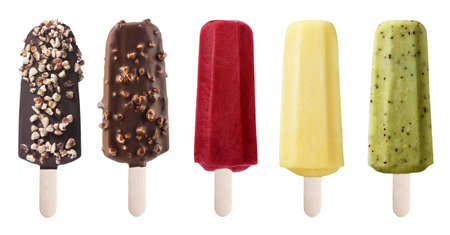 cream and green: Set of different chocolate and fruit ice-cream desserts on wooden stick, on white background