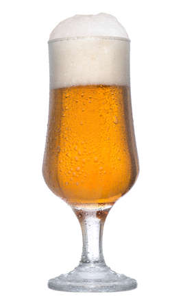 un bottled: Ice cold glass of beer on white background Stock Photo