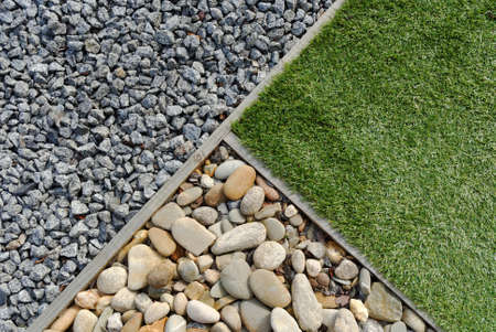 Landscaping combinations of grass, pebble and stones