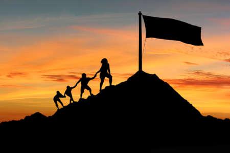 Pessoas ajudar uns aos outros para atingir seus objetivos, desejos e aspirações conceito