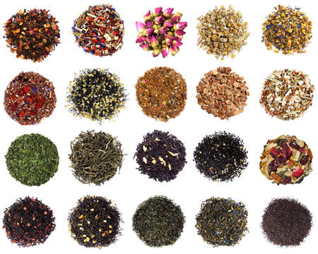 Collection of dry tea on white background