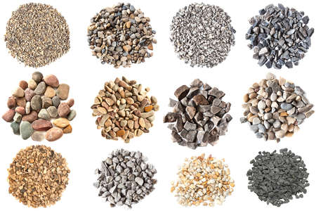 Set of gravels and pebbles on white background