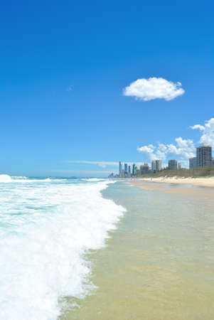 The Coastline of Gold Coast, Queensland.  Surfers Paradise and the coastline and its world famous Surfing beaches