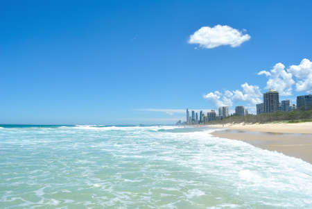 surfers: The Coastline of Gold Coast, Queensland.  Surfers Paradise and the coastline and its world famous Surfing beaches