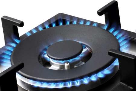 liquefied: Blue gas flames stove burner horizontal image