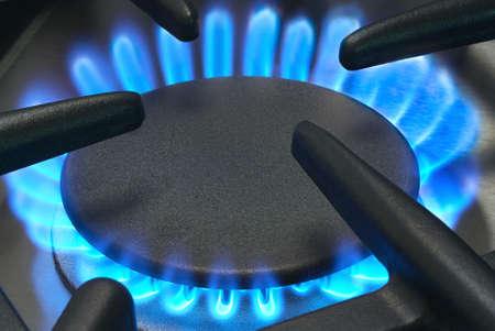 Blue gas flames stove burner horizontal image photo