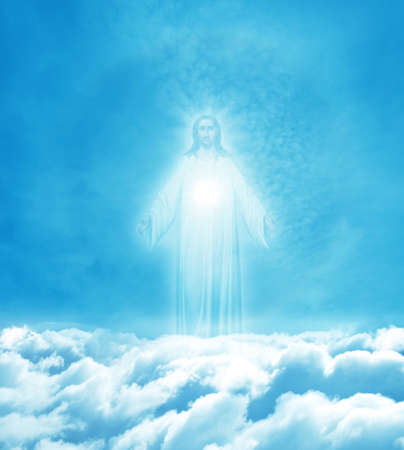 resurrected: Jesus Christ in Heaven religion concept Stock Photo