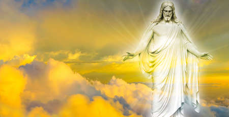 jesus clouds: Jesus Christ in Heaven religion concept Stock Photo