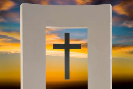 heaven background: Religion abstract symbol over bright sunset Stock Photo