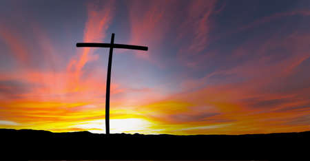 cross: Silhouette of cross over red sunrise or sunset Stock Photo