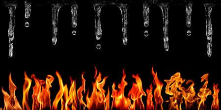 llamas de fuego: Conjunto de llamas de fuego y carámbanos en concepto de fondo negro de contraste