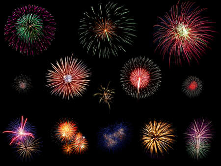 aerial bomb: Set of colorful fireworks light