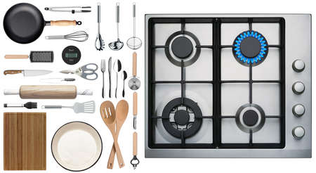 Kitchen tools and stove overlook shot on white background