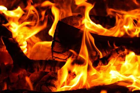 over black: Bonfire flames over black background