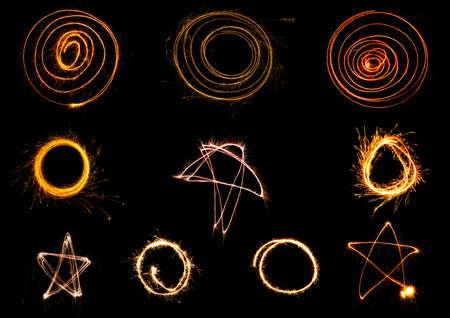 sparkler: Set of Christmas sparkler on black background